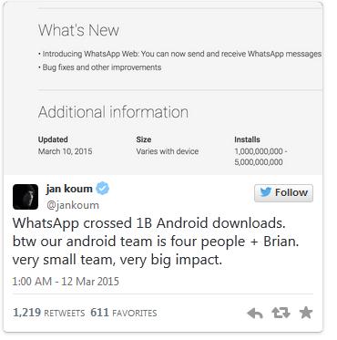 WhatsApp Surpassed 1 Billion Downloads