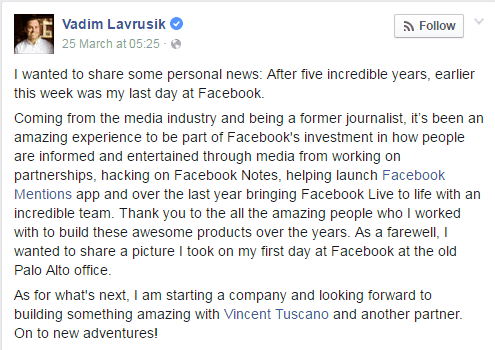 Facebook Live Product Manager Vadim Lavrusik Resigns