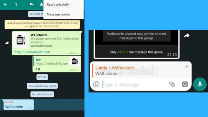 WhatsApps Reply Privately Feature