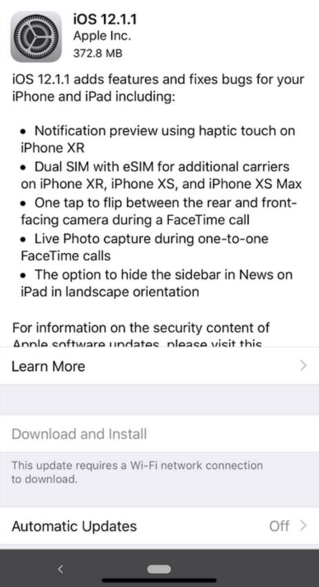 iOS 12.1.1 Update